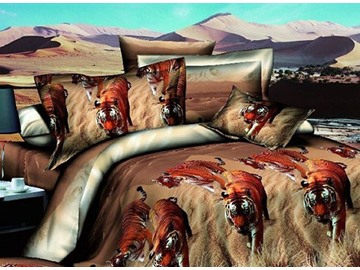 Vigorous Tigers Wandering in Grass Print 4-Piece Duvet Cover Sets