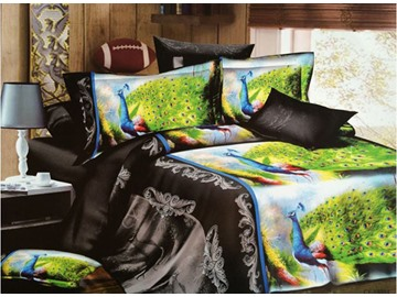 Peacocks Print Noble Jacquard 4-Piece Polyester Duvet Cover Sets