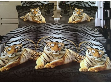 Vigorous Crouches Tigers Print Polyester 4-Piece Duvet Cover Sets