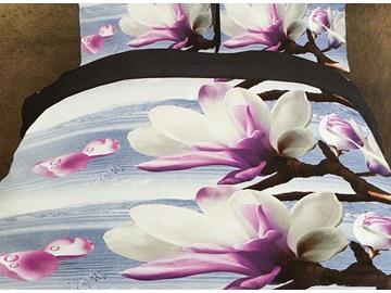 Elegant Lilac Magnolia Print Polyester 4-Piece Duvet Cover Sets