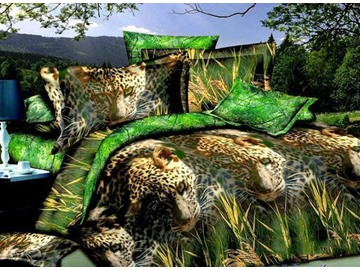 Lifelike Leopard in Grass Design 4-Piece Duvet Cover Sets