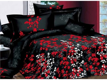 White and Red Flowers Design with Black Background 4-Piece Duvet Cover Sets