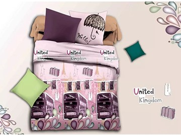 British Bus Print Pink 4-Piece Duvet Cover Sets