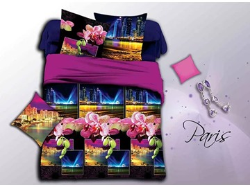 Nigh Scenery and Flowers Print 4-Piece Duvet Cover Sets