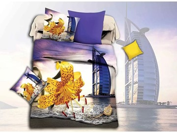 Bright Yellow Flower and Scenery Print 4-Piece Duvet Cover Sets