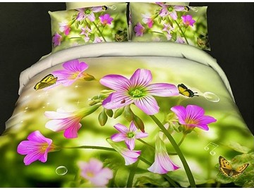 Fresh Butterflies Flowers Print Green 4-Piece Cotton Duvet Cover Sets