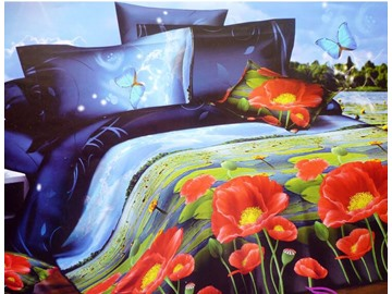 Night Scenery of Lotus Pond Print 4-Piece Duvet Cover Sets