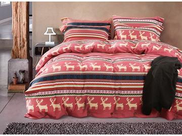 100% Cotton European Style Reindeer Design Red 4-Piece Duvet Cover Sets