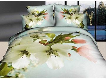 Snow-white Pear Blossom Print Cotton 4-Piece Duvet Cover Sets