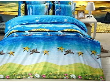 Beach Scenery Cute Starfish Printing 4-Piece Duvet Cover Sets