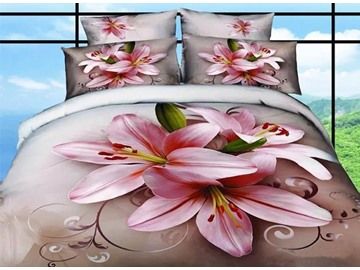 Graceful Pink Lilies Print 100% Cotton 4-Piece Duvet Cover Sets