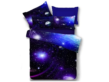Galaxy Reactive Printing Polyester 4-Piece Bedding Sets/Duvet Covers