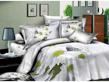 Butterfly on White Daisy Print Cotton 4-Piece Duvet Cover Sets