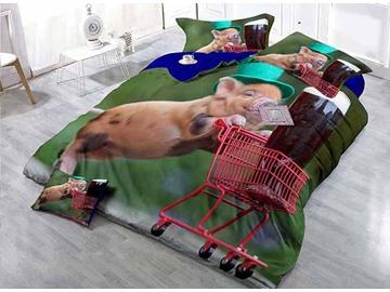 Happy Pig Pushing Cart Print Satin Drill 4-Piece Duvet Cover Sets