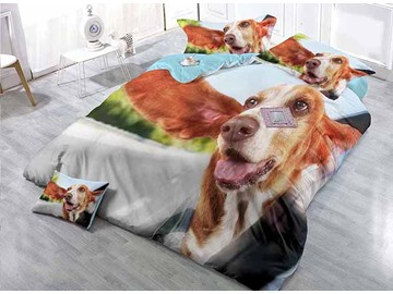 Luxury Satin Drill 4-Piece Duvet Cover Sets with Dog Print