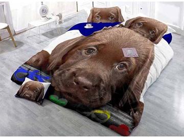 Lying Brown Dog Print Satin Drill 4-Piece Duvet Cover Sets