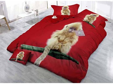 Monkey on Branch Design Red Satin Drill 4-Piece Duvet Cover Sets