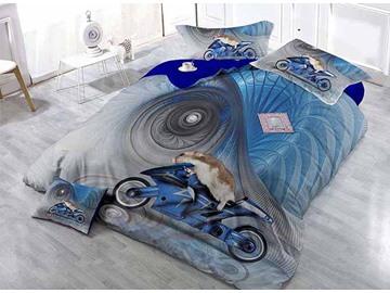 Creative Animal Driving Moto Print Blue Satin Drill 4-Piece Duvet Cover Sets