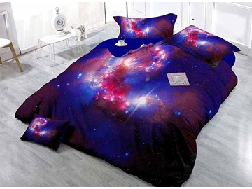 Galaxy Style Print Satin Drill 4-Piece Bedding Sets/Duvet Covers
