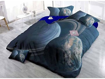 3D Planets Satin Drill Blue 4-Piece Duvet Cover Sets