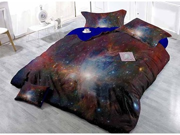 Mysterious Charming Stars and Galaxy Print Satin Drill 4-Piece Duvet Cover Sets