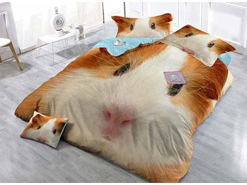 3D Guinea Pig Printed Cotton 4-Piece Bedding Sets/Duvet Covers