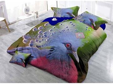 Lifelike 3D Bird Print Satin Drill 4-Piece Duvet Cover Sets