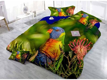 Colorful Parrot Print Satin Drill 4-Piece Duvet Cover Sets