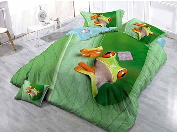 Cute Frog Print Green Satin Drill 4-Piece Duvet Cover Sets