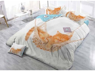 Sleeping Cat Print Satin Drill White 4-Piece Duvet Cover Sets
