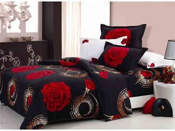 Romantic Red Roses with Black Ground 4 Pieces Duvet Cover Sets