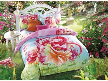 3D Pink Blooming Peonies Printed Cotton 4-Piece Blue Bedding Sets/Duvet Cover