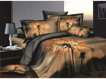 Dandelion Printing Skincare Cotton 4-Piece Duvet Cover Sets