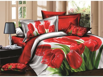 3D Red Tulips Printed Cotton 4-Piece White Bedding Sets/Duvet Covers