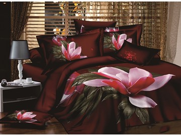 Graceful Magnolia Printing Brown 4-Piece Duvet Cover Sets