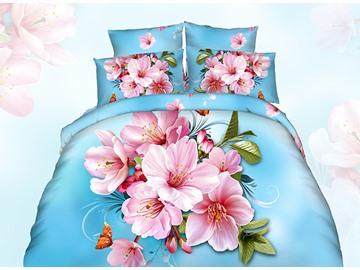Graceful 3D Peach Blossom Printing Blue Cotton 4-Piece Duvet Cover Sets