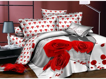 Romantic Simple Red Roses Polyester 4-Piece Duvet Cover Sets