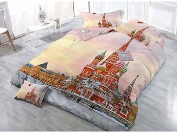 The Cathedral of St Basil Printing Satin Drill 4-Piece Duvet Cover Sets