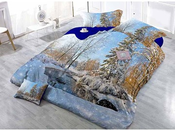 Snow-covered Forest Scenery Satin Drill 4-Piece Duvet Cover Sets