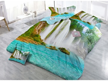 3D Waterfall Digital Printing Satin Drill 4-Piece Duvet Cover Sets