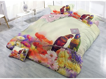 Parrots and Flowers Digital Printing High Density Satin Drill 4-Piece Duvet Cover Sets
