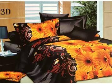 Luxurious Yellow Flowers Design 4-Piece 3D Polyester Duvet Cover Sets