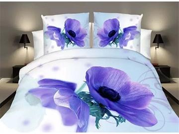 Excellent Mystic Blue Flower 4-Piece 3D Polyester Duvet Cover Sets