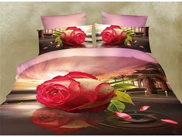 Fantastic Blooming Rose Print 4-Piece 3D Polyester Duvet Cover Sets