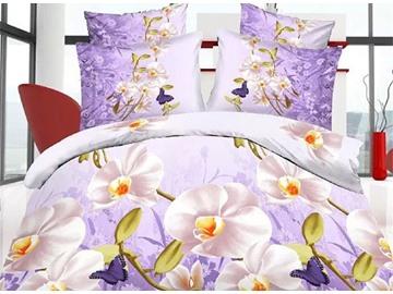 Elegant White Flower Print 4-Piece 3D Polyester Duvet Cover Sets