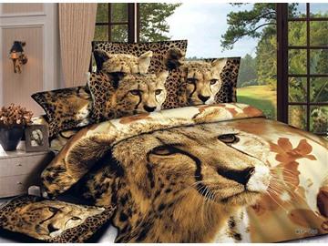 Chic Style Lovely Leopard Print 4-Piece Cotton Duvet Cover Sets