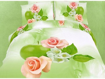Fresh Green Apple and Pink Flowers Printed 4 Pieces Bedding Sets
