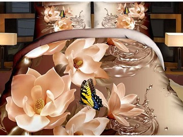 Dignified White Flowers Print 4-Piece Duvet Cover Sets