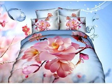 Beautiful Pink Magnolia Blue Background 4-Piece Bedding Sets