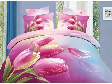 3D Pink Tulips Printed Cotton 4-Piece Bedding Sets/Duvet Cover